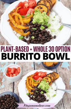 Simple to whip up and perfect for weeknights. This vegan sweet potato burrito bowl is quick comfort food! Made with roasted sweet potatoes and avocado dressing this vegan dinner idea is perfect for meatless Monday. Naturally, gluten-free this vegan burrito bowl also makes for a killer meal prep recipe #meatlessmonday #meatless #meatlessrecipes #veganrecipes #vegandinner