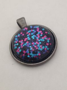 Pink Blue Purple Glitter n Black Pendant Necklace