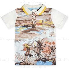 Fore!! Axel & Hudson Subliminal Hawaiian Print Polo: Designer Kids Clothes | Shop our Boutique for Cool Children's Clothing