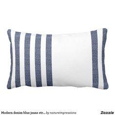 Modern denim blue jeans stripes photo & white lumbar pillow
