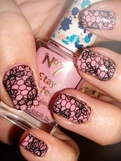 Super cute! and all you need is some lace cut out to the size of ur nails, apply a clear coat of nail polish or pink and make sure the lace is put on before it dries and then seal on with a top coat!