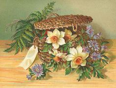 basket with daffodils, ferns, and unknown blue flowers... love the blank tag to the left