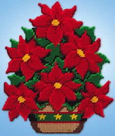 "Design Works POINSETTIA Wall Hanging Plastic Canvas Kit 13"" x 10"""