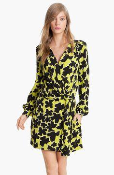 Diane von Furstenberg'Dora' Silk Faux Wrap Dress