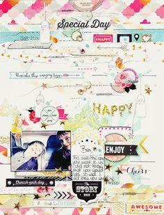 A layout by Emma Trout using Allison Krefts #Happy. #scrapbook #websterspages #layout # scrapbooking #emmatrout