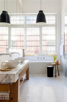 Black and white bathroom with the most incredible windows. A light and airy bathroom in a Victorian home interior by Beatrix Rowe Interior Design. Photo by Shannon McGrath. Victorian Terrace House, Victorian Homes, Victorian Windows, Antique Windows, Vintage Windows, Bad Inspiration, Bathroom Inspiration, Bathroom Ideas, Bathroom Trends