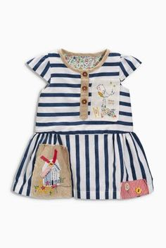 Buy White & Blue Stripe Embroidered Dress (0mths-2yrs) online today at Next: Australia