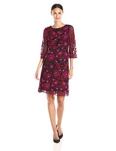 Adrianna Papell Womens 34 Sleeve Lace Fit and Flare Dress RedMulti 2 * Be sure to check out this awesome product.