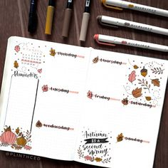 october bullet journal posting this week's spread on a tuesday 'cause. Bullet Journal Wishlist, Diy Bullet Journal, Minimalist Bullet Journal, Bullet Journal Weekly Layout, Bullet Journal Writing, Bullet Journal Aesthetic, Bullet Journal School, Bullet Journal Spread, Autumn Bullet Journal
