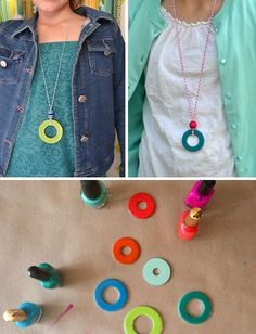 DIY washer necklaces for girls with nail polish. SmallforB #kids #jewelry #diy   http://jewelryfoster.blogspot.com