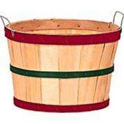 Texas Basket Co. Natural Half Bushel Basket w/ Red & Green Hoops Item 214704 Bushel Baskets, Vegetable Basket, Garden Basket, Restaurant Equipment, Restaurant Supply, Wood Basket, Clothes Basket, Basket Shelves, Wood Display