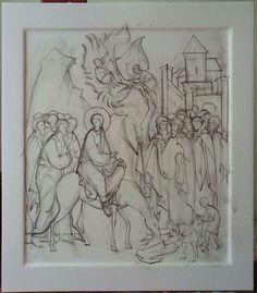Вход Господень в Иерусалим Art Icon, Orthodox Icons, Painting Process, Bible Stories, Christian Art, Drawing S, Fresco, Icon Design, Coloring Pages