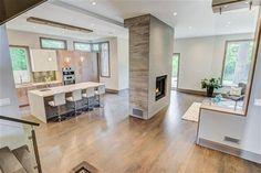 Modern Layout, Hardwood, Double Sided Fireplace, Glass Partition, Kitchen Fireplace Glass, Double Sided Fireplace, Modern Contemporary Homes, Glass Partition, Project Management, Hardwood, Layout, Interior, Kitchen