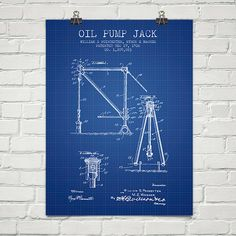 1916 Oil Pump Jack Patent Blueprint Patent Wall Art Poster    Beautiful POSTER print for your home or office. Unlike other artists selling patents