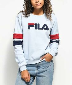 7a781edd78c7 FILA Newton Light Blue Crew Neck Sweatshirt New Fila
