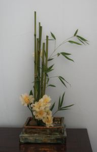 Il sentiero dei fiori Ikebana Flower Arrangement, Ikebana Arrangements, Floral Arrangements, Bonsai, Simple Flowers, Yellow Flowers, Flower Decorations, Christmas Decorations, Ikebana Sogetsu