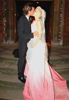 Gwen Stefani    This Dior dip-dyed silk faille gown was created specifically for the singer's 2002 marriage to rocker Gavin Rossdale, and it's a triumph of personal style—equal parts girlie and punk, just like the pop star herself.