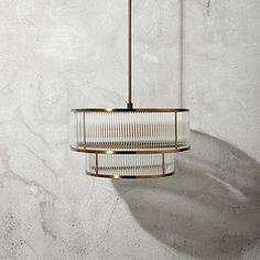 Modern Double Tiered Gem Pendant in Brushed Brass | Arhaus Furniture