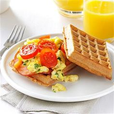 Waffle Sandwich Recipe -Breakfast for lunch or dinner? Why not, when the recipe's this easy! I like to serve it with some crisp, juicy sweet apples. Sometimes I add raisins and nuts to the filling for sweetness and crunch. —Michele McHenry, Bellingham, Washington