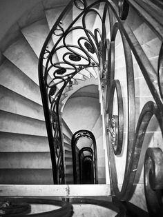 """""""Down stairs"""" by Fernando Cabeza, via Lovely Things, Stairways, Architecture Details, White Photography, Gates, Spiral, Shops, Mansions, Black And White"""