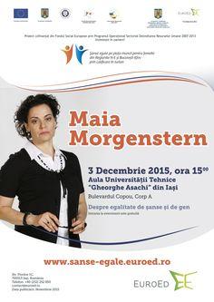 """Vă așteptăm azi, la ora 15:00, în Copou - Aula Universității Tehnice la seminarul """"Cu Maia Morgenstern despre egalitatea de șanse și de gen"""".  Intrarea se face prin Sala Pașilor Pierduți."""