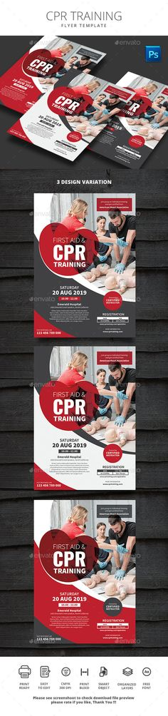 Buy CPR Training by monggokerso on GraphicRiver. CPR Training Flyer File Features : Size + Bleed area CMYK / 300 dpi Easy to edit text Well organized PSD. First Aid Poster, First Aid Cpr, First Aid Course, Cpr Training, Event Flyer Templates, Flyer Design, Print Design, Graphic Design, Magazine Online