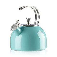 kate spade new york all in good taste Tea Kettle With its pop of color and merry whistle while you work message on the spout, this qt. whistling tea kettle from kate spade new york adds an upbeat note to any kitchen. Kate Spade New York, Azul Tiffany, Cast Iron Cookware, Stainless Steel Wire, Kitchen Collection, Black Box, Organizer, Kitchenware, Tableware
