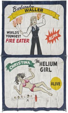 HAND PAINTED CIRCUS SIDESHOW BANNER