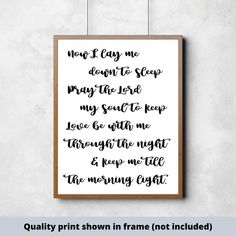 Now I lay me down to sleep child's prayer quality print Cute Wall Decor, Girl Decor, Good Boy Quotes, Scripture Signs, Bible Verses, Little Boys Rooms, Kids Sleep, Baby Sleep, Make Your Own Sign