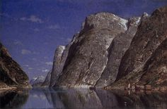 Fjord at Night - Adelsteen Normann Alfred Stevens, Albert Bierstadt, Alfred Stieglitz, Ansel Adams, Cool Landscapes, Landscape Paintings, Charles Angrand, Canvas Paintings For Sale, Norway Fjords