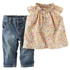 "Carter's Girls 2 Piece Floral Printed Flutter Sleeve Poplin Tunic and Stretch Denim Pant Set - Carters - Babies""R""Us Baby Outfits, Kids Outfits, Cute Outfits, Girly Outfits, Toddler Outfits, Carters Baby Girl, My Baby Girl, Baby Girls, Fashion Kids"