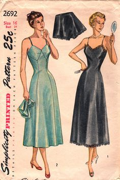 Simplicity 2692 Ladies Lingerie Pattern Misses Slip and Panties Pattern Womens Vintage Sewing Pattern Size 16 Bust 34 Lingerie Patterns, Sewing Lingerie, Vintage Dress Patterns, Vintage Lingerie, Clothing Patterns, Women Lingerie, Vintage Outfits, Vintage Dresses, 1940s Fashion