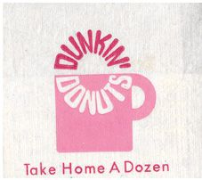 1970 Dunkin Donuts napkin with the old logo