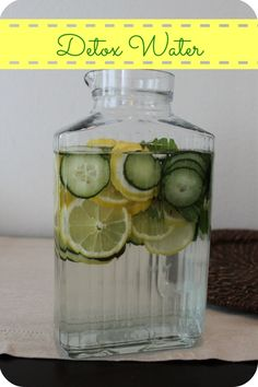 Detox water. Great for hydration and detoxing the body. 2 lemons, half a cucumber, 10 mint leaves and 3 quarts of water. Add everything to pitcher and let chill overnight.