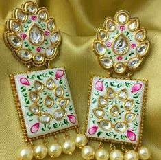Gold And Silver Earrings Product Indian Jewelry Earrings, Fancy Jewellery, Jewelry Design Earrings, Gold Jewellery Design, India Jewelry, Silver Jewelry, Designer Jewellery, Antique Earrings, Ethnic Jewelry