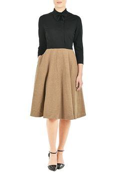 I <3 this Bow-tie collar wool blend ponte dress from eShakti