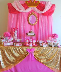 SLEEPING BEAUTY PARTY- PRINCESS Party- Princess Birthday- COMPLETE- Princess Party Decorations- Girl Party Pink Princess Party, Disney Princess Birthday, Baby Shower Princess, Girl Birthday, Birthday Parties, Princess Theme, Birthday Table, Princess Sophia, Birthday Crowns