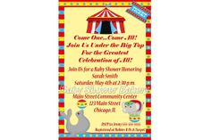 Customized circus themed baby shower invitation! Great gender neutral invitation that can also be customized for boy or girl! $8.00 #circus #baby #shower #invitation #customized #printable #gender #neutral