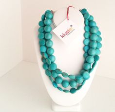 Turquoise Necklace Chunky Beaded Necklace Blue Necklace by kluster, $140.00