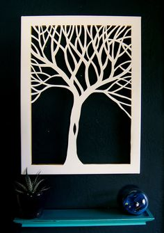 18 x 24 Tree Silhouette Cut Canvas  Custom Order by NineRed, $64.00