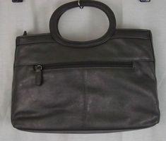 Marlo Genuine Leather Gray Sachel Handbag Outside Zipper Compartment Two Pockets #Marlo #Satchel