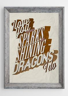Guillemots song lyric art print - 'Shining Dragons' typography music poster inspired by Made-Up Lovesong #43