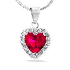 Půvabný stříbrný přívěsek Silvego srdce s červeným zirkonem HHP1262