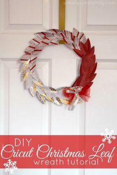 DIY Cricut Christmas Leaf Wreath Tutorial