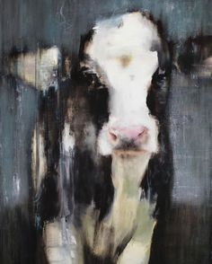 "TheWindyLilac.com-Sharing All Things Home-FARMHOUSE DECOR-""Rain"" by Elsa Sroka, Oil, 40x30"" Great Decorating Idea FOR farmhouse, Country and Rustic Decor (sweet black and white Cow in the rain)"