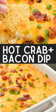 Hot Crab and Bacon Dip is the ultimate cheesy appetizer! Tender lump crab, crispy bacon, green onions and three kinds of cheese make this decadent dip a major crowd pleaser!
