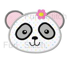 Girl panda applique machine embroidery design by FunStitch on Etsy, $2.59