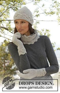 """Rani / DROPS 141-25 - Set consist of: Crochet DROPS hat, neck warmer and mittens with fan pattern in """"Merino Extra Fine""""."""