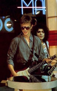 Bowie and Marc Bolan on TV show Marc, September 7th 1977.