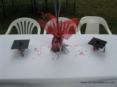 Graduation Centerpieces Ideas | The table decorations looked great on all the tables, it added color ...